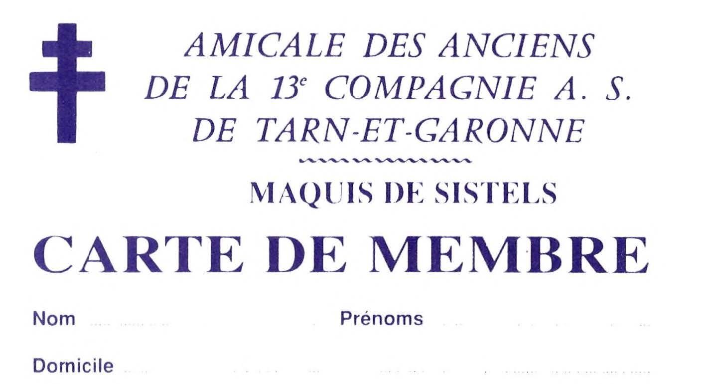 Carte de membre de l'amicale des anciens de la 13ème Compagnie