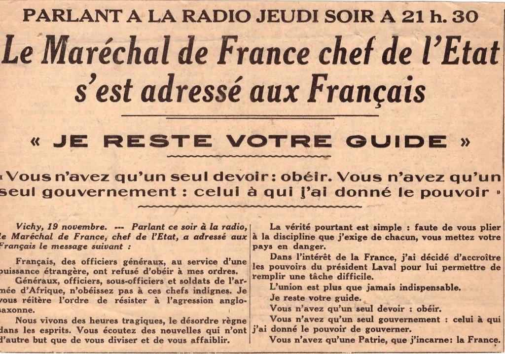 Je reste votre guide signé Marécal Pétain