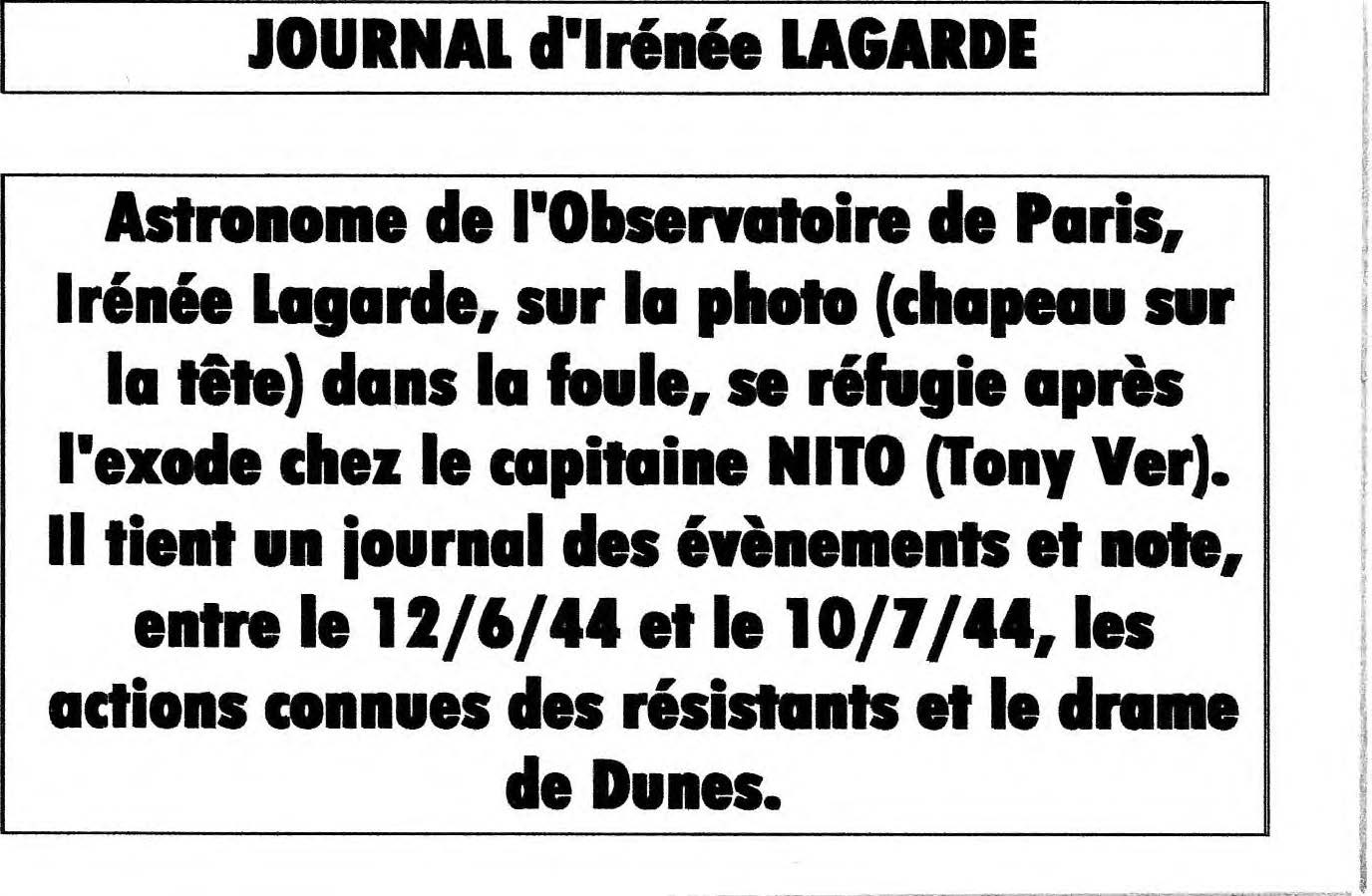 Journal d'Irénée LAGARDE