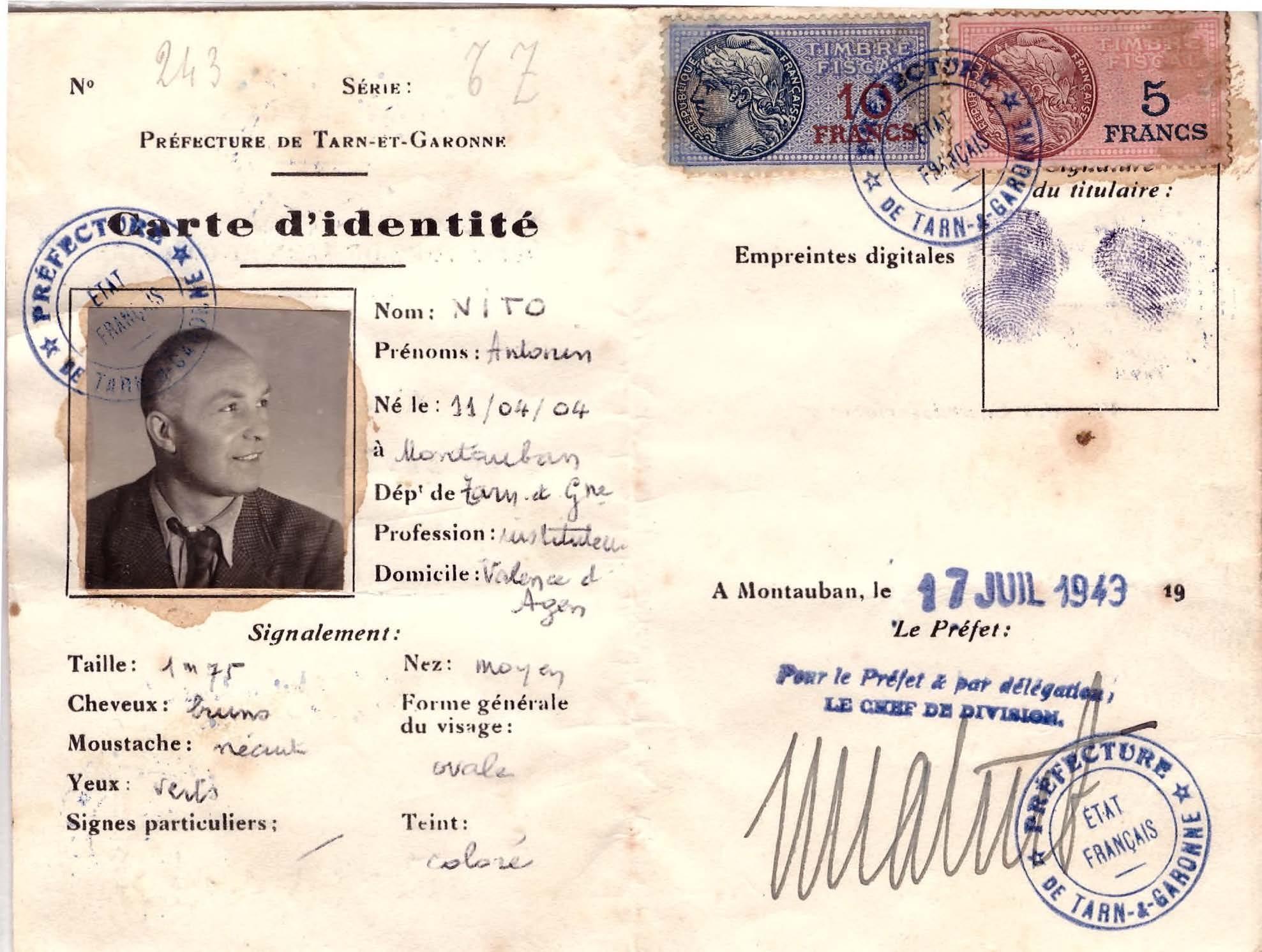 Fausse carte d'identité D'Antonin VER