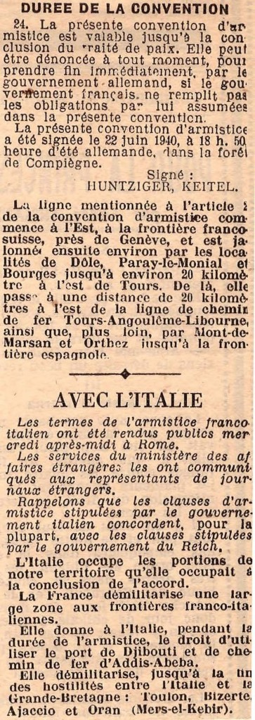 Texte officiel français de la Convention Armistice 2
